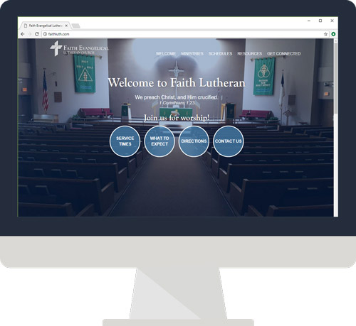 A desktop monitor showing the Faith Lutheran website